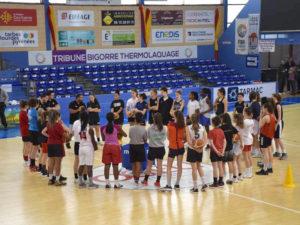 Briefing d'ouverture lors de la journée de detection au club de basket de Tarbes TGB