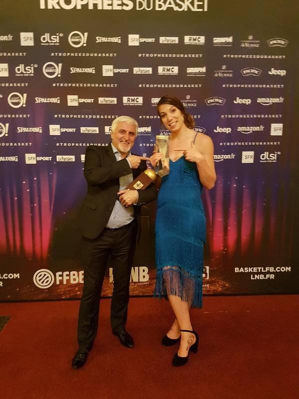 François Gomez meilleur entraîneur de la saison LFB et Michelle Plouffe dans le 5 majeur : le TGB ramène 2 récompenses des trophées du basket 2018