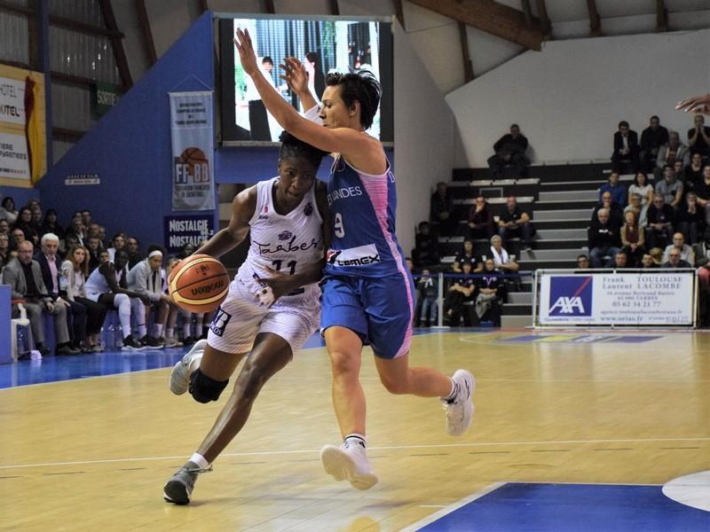 duel adja Konteh TGB et céline Dumerc de Basket Landes en Eurocup au quai de l'Adour à Tarbes